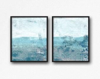Abstract Art Set Of 2 Prints, Aqua Blue Diptych, Abstract Painting,Minimalist Ocean Seascape Painting, Coastal Bathroom Wall Art Prints