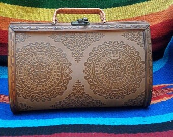 Vintage 1970's Wooden Tooled Purse