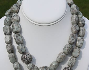 Sophisticated Sesame Jasper Double Strand Necklace with Silver Mesh Wire Ball Accents