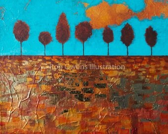Fields of Gold - Original Painting with Gold Leaf