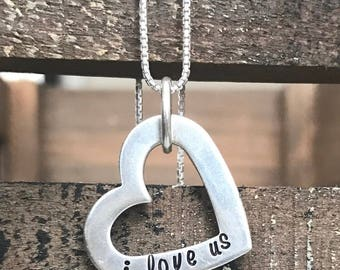 Valentines Day Gift, Valentines Necklace, Gift for Her, Heart Necklace, Sterling Necklace, Anniversary Gift,  Gift for Wife, Sterling gift