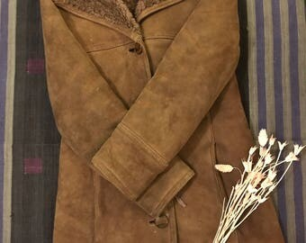 Vintage Brown Shearling Coat (xs)