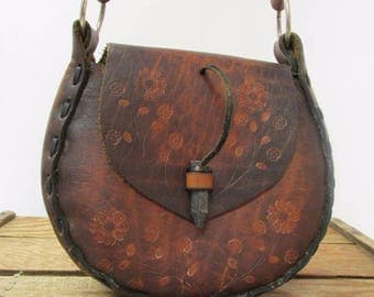 Vintage 70's  Handmade Brown Floral Tooled Leather Saddle Bag Boho Shoulder Purse