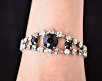 "Vintage Delicate Multi Strand Rhinestone Princess Bracelet 7"" Black White Silver Tone Retro Mid Century Costume Estate Wedding Jewelry"