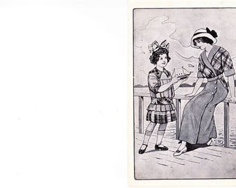 Vintage 1920s Advertising Sales Fashion Postcard Mother Daughter Sail Boat Unposted