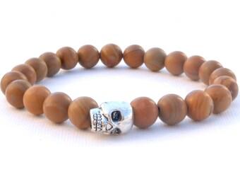 Mens Bracelet, Brown Skull Bracelet, Mens Silver Skull Natural Stone Bracelet,  Black Gem Stone Bracelet, Mens Gift, Unique gift for him