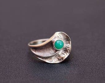 Sterling silver natural chrysoprase ring Made in USSR Size 10 1/4