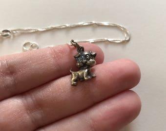 Vintage Petite Oxidized 925 Sterling Silver Puppy Dog Pendant Necklace