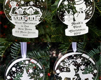 Personalised Christmas bauble acrylic decoration tree ornament name bauble snow globe snowflakes First Christmas