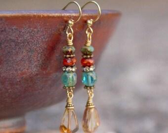Aqua & Coral Vintage Style Earrings, Czech Glass Earrings, Teardrop earrings