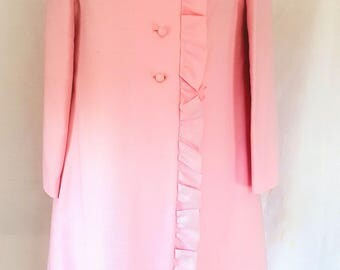 1950's dress, Jackie O' style, matching jacket, pink dress, vintage dress, Made in London by Wendy, size 10,