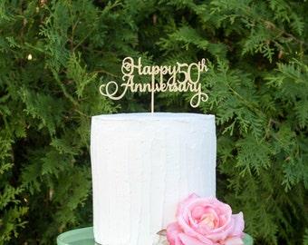 Happy 50th Anniversary Cake Topper, Gold Silver Cake Topper, Anniversary Cake Topper, Personalized Cake Topper,Gold Cake Topper, Anniversary
