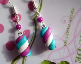 Sterling silver 925 earrings Marshmallow white turquoise fuchsia polymer clay fimo and fuchsia miracle bead