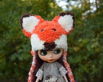 Blythe Fox Hat With Ears Handmade Knitted Fox Cap Blythe Outfit Blythe Doll Clothes Neo Blythe Fox Hat Fox cap Blythe helmet Blythe Hat
