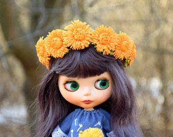 Blythe clothes Doll wreath of dandelions  Bjd accessory crown of flowers Headband Tiara Blythe forest Blowball yellow flowers Blythe hat