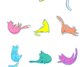 Trendy Cat Illustration - A4 Size Bright, Fluro Cats, Kitty Poster, Art Print