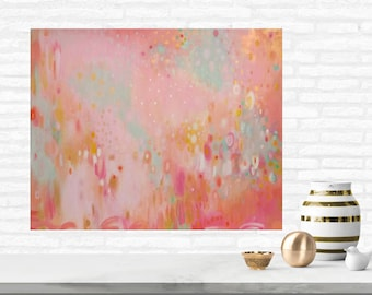 Pink Coral and Gold Nursery Art Pink Modern Art Pink Gold Painting Pink and Gold Abstract Nursery Art Pink Coral Mint and Gold Nursery Decor