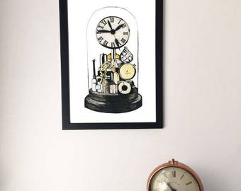 Framed Vintage Style Dome Clock Painting/Drawing, Watercolour Clock Picture, A4/A3, Unique Unusual Gift, Steampunk