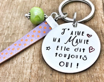 Personalised French Grand-Mère Keyring, Custom Keyring Grandma