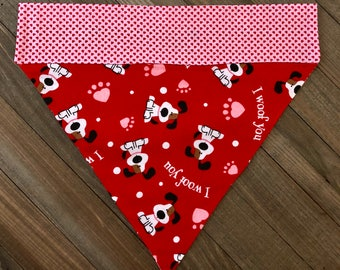 "Red ""I Woof You"" Reversible Slide-On Bandana, Red and Pink Valentine's Day Dog Bandana"