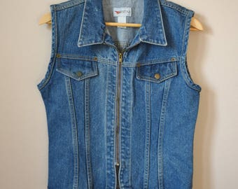 Vintage 90s Denim Vest, Women's Size XS-Small / 90s Clothing / Vintage Clothing