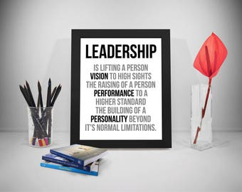Leadership Quotes, Vision Quotes, Performance Quotes, Personality Quotes, Saying, Poster, Office Decor, Office Art, Leadership Wall Art