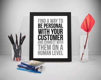 Find A Way To Be Personal With Your Customer Quotes, Customer Service Printable, Office Decor, Office Wall Art, Office Wall Decor