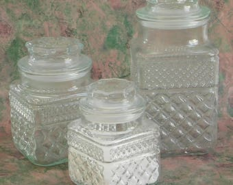 Vintage Wexford Canister Set by Anchor Hocking, 3 Pieces, Glass, Apothecary Lidded Jars, Square Food Storage Containers, Bathroom Vanity Set