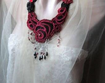 Unique Art to wear ,Romantic necklace, Shabby Chic, Necklace jewelry beadwork, Romantic necklace,Beadwork,artisan necklace,Unique jewelry
