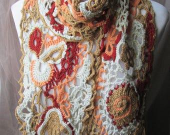 Crochet scarf, Freeform Crochet Scarf ,Neck Warmer fall colours,Chic, Boho, Hippie, Gypsy Freeform Crochet Scarf ,Wearable Art,Art scarf