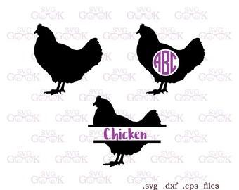 Chicken SVG, Chicken Monogram svg, Split Chicken svg, Farm svg cut files for Cricut and Silhouette, svg files