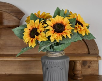 Artificial sunflowers, floral display, floral arrangement, yellow flowers, ever lasting flowers, silk flowers, home decor, mothers day