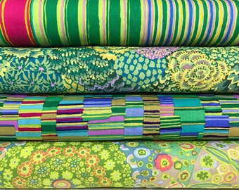 Bundle of 4 Green Kaffe Fassett Fabrics, Choose the Cut, Kaffe Fassett Green