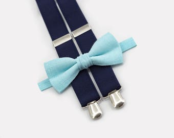 Groomsmen Suspenders Bow Tie Mint Bow Tie Navy Blue Suspenders Man Necktie Ring Bearer Outfit