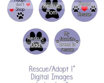 """1"""" Rescue/Adopt Collage Sheet Instant Download Adopt don't Shop, Dog Rescue, Shelter Dogs, Bottle Cap Collage, Bottle Cap Sheet"""
