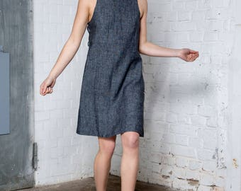 Black hemp chambray halter dress, Summer Dress, Sleeveless Dress, Party Dress