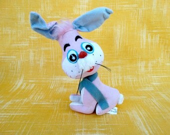 Vintage Mid Century Jerry Elsner Pink Easter Bunny Rabbit Stuffed Plush Toy
