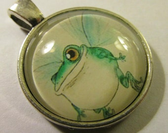 """Silver Tone Glass Dome Charm-Pendant of Bull Frog Fairy, 1"""""""