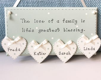 Personalised 'Love of a Family' Plaque - Family Tree Plaques , Personalised Plaques , Family Keepsake , Family Gift.