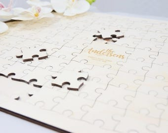 Personalized wedding guest book puzzle Alternative wedding guest book Wedding jigsaw puzzle decor Natural wood puzzle