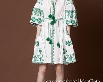 Vyshyvanka Ukrainian Linen Dress Bohemian Embroidered Mexican Dress  Kaftan Abaya Bohostyle Ethno Folk Custommade Handmade Free Shipping
