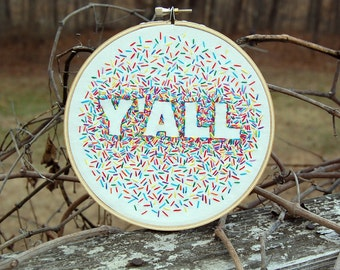 Y'ALL rainbow confetti hoop art