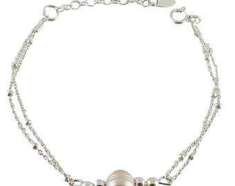 Silver water pearl bracelet with fresh dew (made in France)