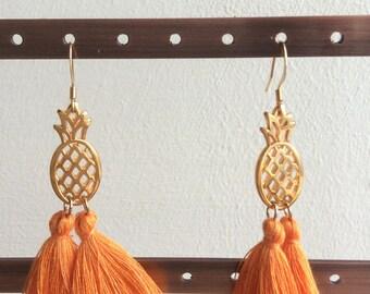 Tassel Earrings, Tropical Earrings, Orange Earrings, Yellow Earrings, Gold Earrings, Pineapple Earrings