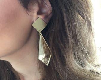Gold Earrings, Long Geometric Earrings, Long Earrings, Geometric Jewelry, Earrings with Clips from Plexiglass made in Greece.