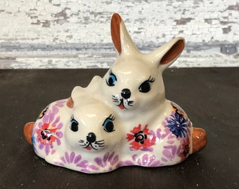 Polish Pottery Bunny Twin Figurine