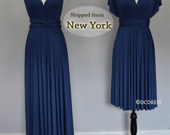 Midnight Blue honeymoon dress, infinity dress, ball gown, Bridesmaid dress, infinity convertible maxi dress, short dress for wedding