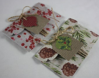 Christmas Gift Card Money Holders Pack of 2 Includes Tags And Twine 8 Piece Set Handmade Great for Cash Or Small Flat Gifts Pine Cones