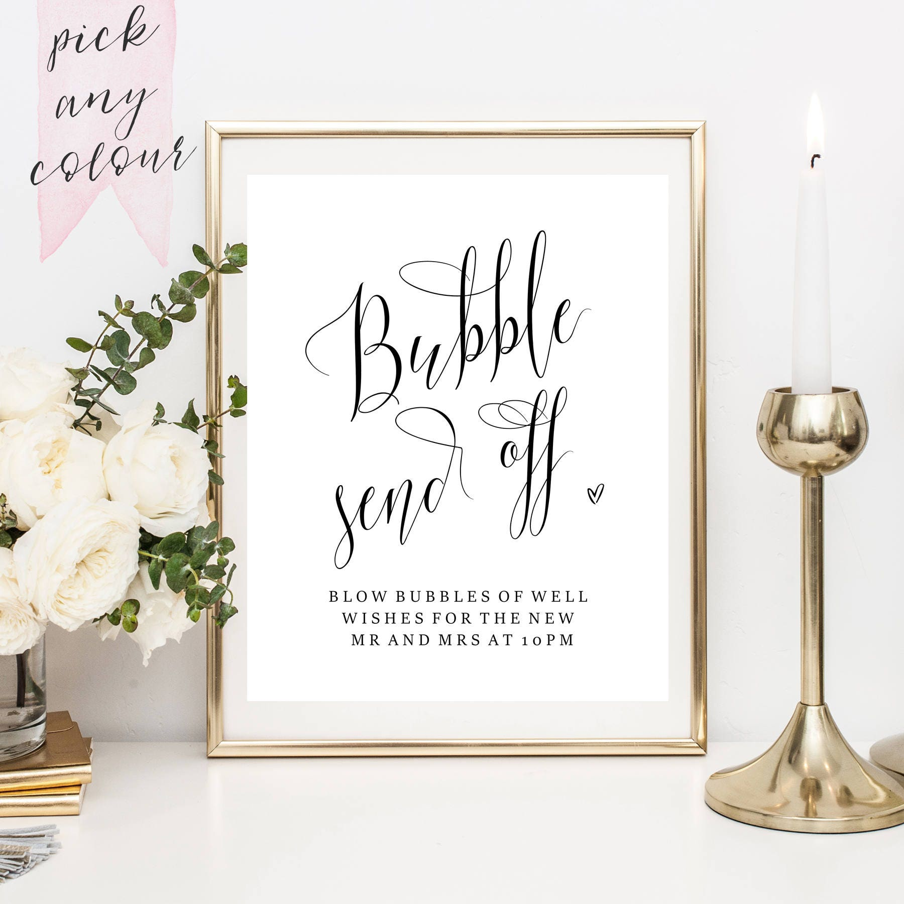 Bubble Send Off Printable Bubble Send Off Sign Wedding Sign Decor