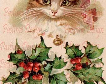 Vintage Christmas postcard,Vintage Christmas image,Instant download,Christmas Ephemera,Printable image,cute kitten xmas image,cardmaking